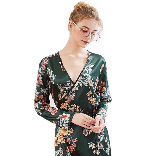 ثوب نوم برقبة على شكل V مريح للنساء البالغات ملابس نوم عصرية