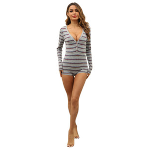 Onesies for Adult Female Wholesale Ladies Jumpsuit Stripe Printed Long Sleeve Slim Tight V-neck Bodysuit Casual Clothing