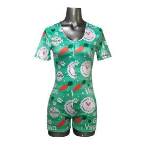 حار بيع الياقة المدورة ارتداءها النساء السيدات ضيق طباعة السراويل بالجملة تصميم كوستوميد