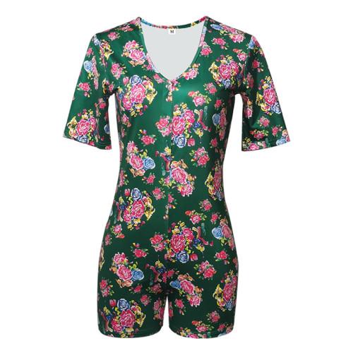 Onesies قصيرة الأكمام السراويل بذلة ساخنة رومبير ملابس النوم ملابس النوم منامة النساء البالغات مثير