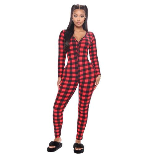 Комбинезоны с длинным рукавом и брюки Женские брюки с принтом 2021 года Комфортные цельные пижамы с v-образным вырезом для отдыха