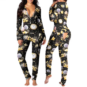 Wholesale for Adult Female Jumpsuit New Arrival V-neck Pretty Printed OEM and ODM Service Onesies Long Sleeve and Pants