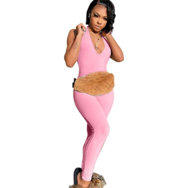 ملابس رياضية صيفية برقبة على شكل حرف V جمبسوت بدون أكمام بدلة نسائية على الموضة