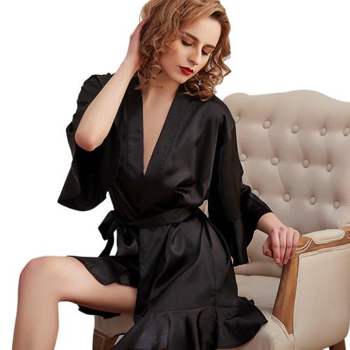 رداء حريري نسائي للبيع بالجملة مريح للغاية لباس نوم للسيدات مقاس كبير