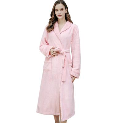 رداء طويل من الفلانيل للنساء ملابس جميلة مريحة ودافئة ملابس نوم شتوية