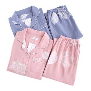 Атласный пижамный комплект Свободные повседневные пижамы Женская одежда Комфортное ночное белье