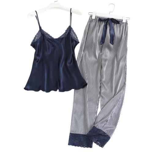 قطعة فاخرة من البيجامات بلا أكمام ملابس نوم حريمي ملابس حريرية بالجملة للسيدات