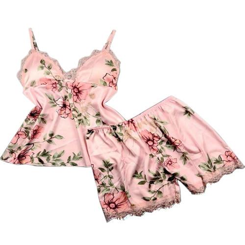 ملابس نوم حريرية كاجوال للسيدات مطبوعة قطعتين من بيجاما مريحة