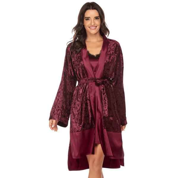Ночная рубашка Наборы Кружева Ледяной Шелк Женская Красивая Одежда Пижамы Женский Дизайн