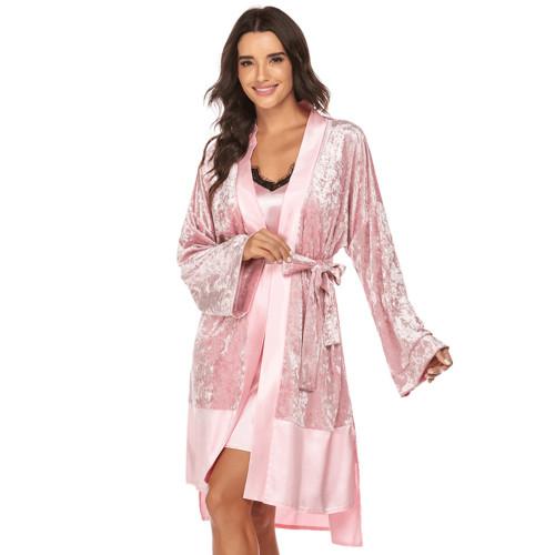 أطقم قمصان النوم من الدانتيل والحرير الجليدي ملابس نوم نسائية بتصميم جميل