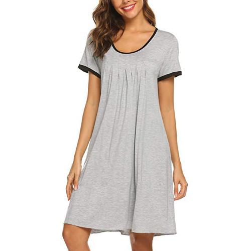 س الرقبة ثوب النوم المرأة الصيف طول الركبة فستان سهرة فضفاض منامة