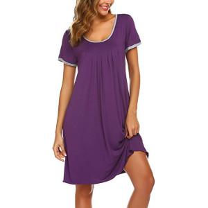 Ночная рубашка с круглым вырезом, женская летняя свободная ночная рубашка длиной до колен, пижама