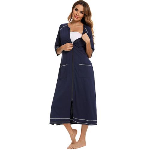 ثوب النوم الخامس الرقبة الجملة فستان طويل فضفاض ملابس غير رسمية سيدة زائد الحجم