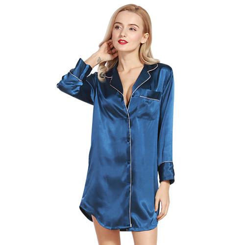 قمصان نوم طويلة الأكمام في المنزل ملابس نوم نسائية صيفية أنيقة فضفاضة للربيع