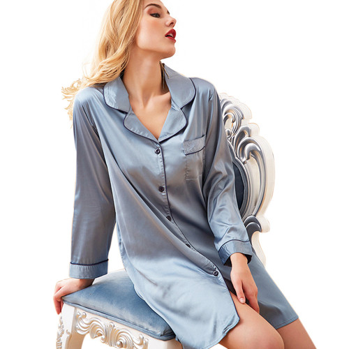 قمصان نوم كاجوال بأكمام طويلة ورقبة على شكل حرف V بيجاما فضفاضة ملابس سيدة جميلة
