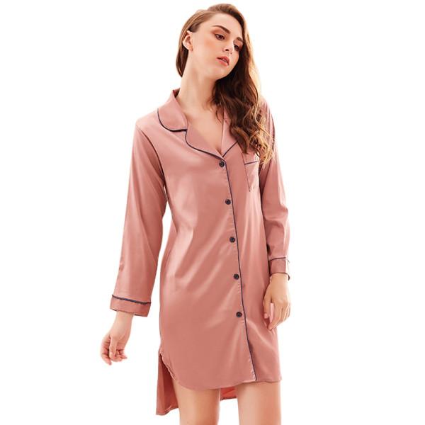 Lingerie Plus Size Sleepwear,V-neck Long Sleeve Nightdress,Knee-length Button Nightgown Wholesale
