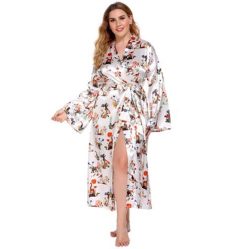 На заводе оптовые халаты с длинным рукавом для женщин с атласной комфортной довольно свободной одежды