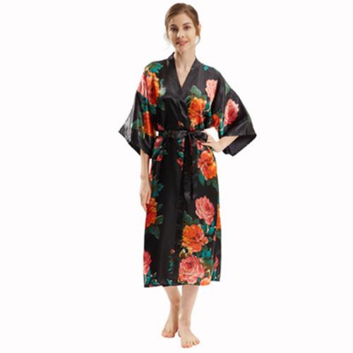 منتصف طول الجلباب بالجملة حجم الحرة الحرير رداء المرأة نوم منامة