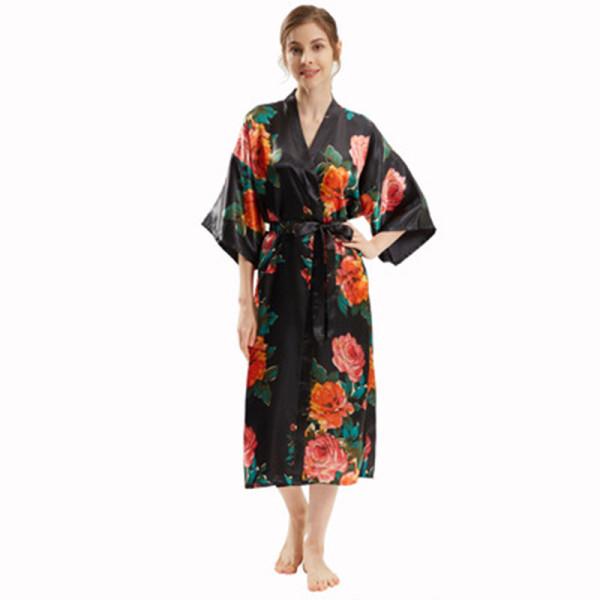 Халаты средней длины оптом, свободный размер, шелковый халат, женские пижамы
