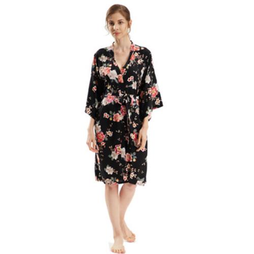 Оптовый шелковый халат, женские халаты средней длины, до колен, летняя весна, повседневная женская одежда