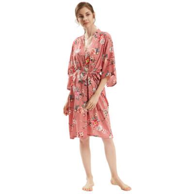 الجملة رداء الحرير المرأة منتصف طول الجلباب الركبة طول الصيف الربيع عارضة ملابس سيدة