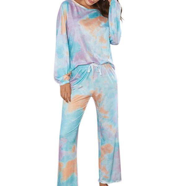 Long Sleeve Sleepwear for Women,Two Piece of Pajamas Women,Tie Die Printing Ladies Home Wear