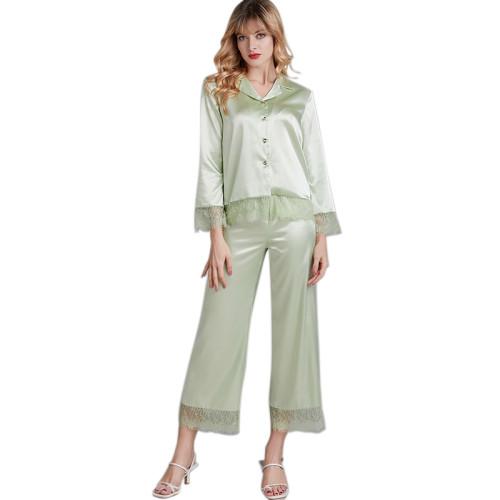 طقم ملابس نوم من قطعتين من الشركة المصنعة بالجملة من بيجامات للنساء دانتيل كاجوال