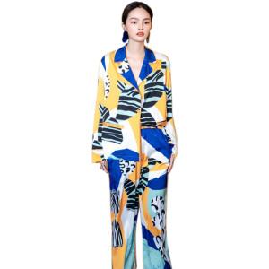 Оптовые двухкомпонентные комплекты пижам для женщин с принтом длинных свободных дам большого размера