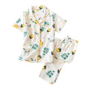 التصنيع والمورد مصمم المنزل ارتداء قطعتين من بيجاما قصيرة الأكمام والسراويل بالجملة مجموعات
