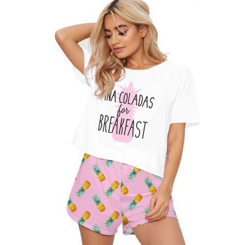 ملابس نوم نسائية للبيع بالجملة قطعتين من بيجامات بأكمام قصيرة وسراويل أطقم طباعة لطيفة فضفاضة