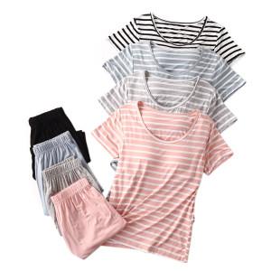 Wholesale Two Piece of Satin Pajama Set Short Sleeve and Shorts Customized Printing O-neck