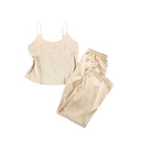 شعور الراحة بالجملة الحرير الساتان لسيدة ملابس غير رسمية قطعتين من بيجامة بلا أكمام ومجموعات السراويل