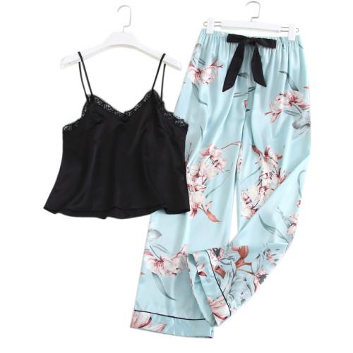 مورد قطعتين من البيجامة بالجملة بلا أكمام وسراويل مجموعات ملابس طباعة جميلة