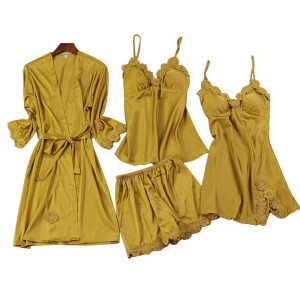 Manufacturer Multi-Piece of Pajamas Wholesale Sets Long Robe Silk Lace Lady Pretty Wear