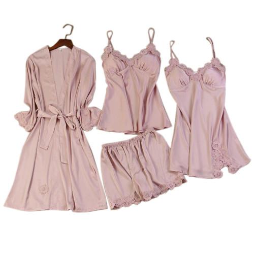 الصانع متعدد قطعة من البيجامات بالجملة مجموعات طويلة رداء الحرير الدانتيل سيدة ملابس جميلة
