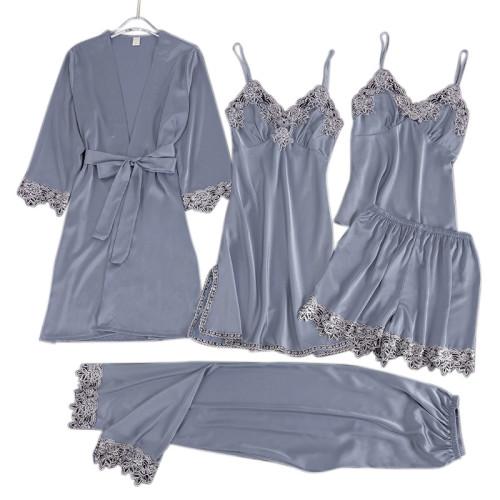 متعددة قطعة من منامة الجملة المورد مجموعات الدانتيل الحرير الراحة الساتان للنساء ملابس النوم