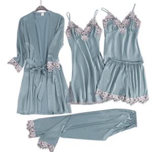 Multi-Piece of Pajamas Wholesale Supplier Sets Lace Silk Comfort Satin for Women Sleepwear