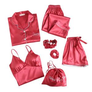 Multi-Piece of Pajamas Wholesale Supplier Sets Lady Pretty Sleepwear Lace Satin