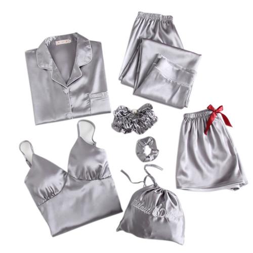 متعدد قطعة من بيجامة بالجملة المورد مجموعات سيدة جميلة ملابس النوم الدانتيل الساتان