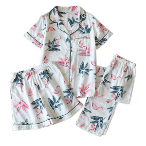 Multi-Piece of Pajamas Wholesale Supplier Sets V-neck Shorts Loose Printed Plus Size