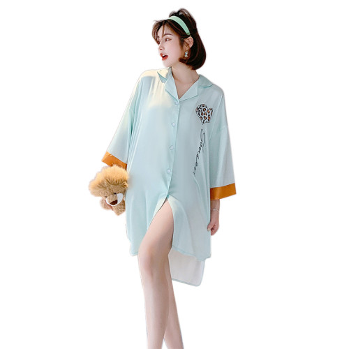 قميص نوم مخصص من المصنع بأكمام طويلة في ثوب نوم منزلي للنساء ملابس نوم غير رسمية
