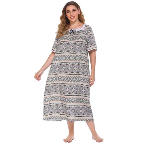 مورد ومصنع ملابس نوم نسائية فضفاضة ثوب نوم نسائي بأكمام قصيرة