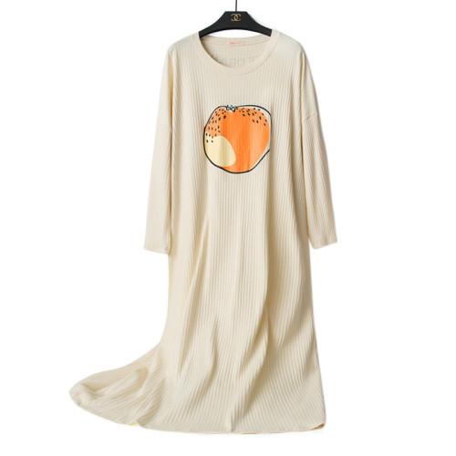 ملابس نوم من المصنع فستان طويل نايتي برقبة دائرية قميص نوم كاجوال للنساء بأكمام طويلة