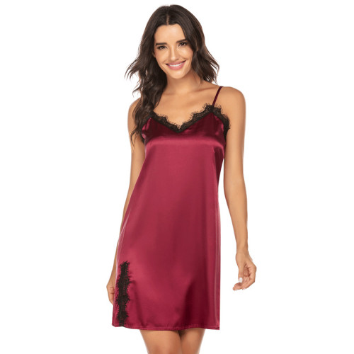 ملابس نوم من الشركة المصنعة للسيدات ، قميص نوم نسائي فضفاض ، تنورة بحمالات ، دانتيل جميل