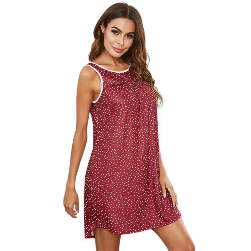 الجملة يا الرقبة ثوب النوم المرأة الصيف جميلة ثوب النوم بطول الركبة عارضة
