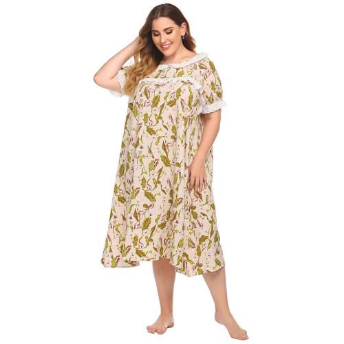 فستان نوم ساتان برقبة دائرية للنساء فستان نوم نسائي فضفاض من الدانتيل القطني