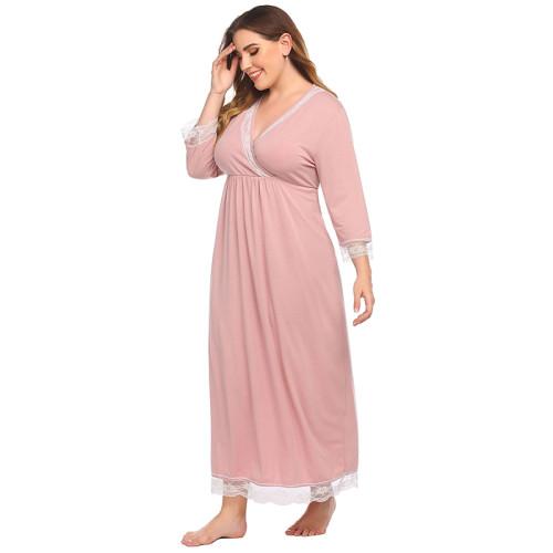 ثوب النوم الخامس الرقبة بالجملة للنساء وصول جديد ربيع الخريف ملابس المنزل عارضة طويلة
