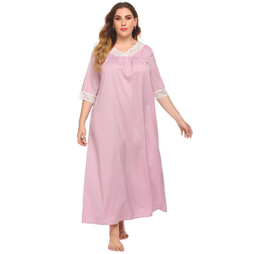 مورد المصنع قميص نوم قطن برقبة على شكل حرف V للنساء ملابس منزلية بيجاما أنيقة