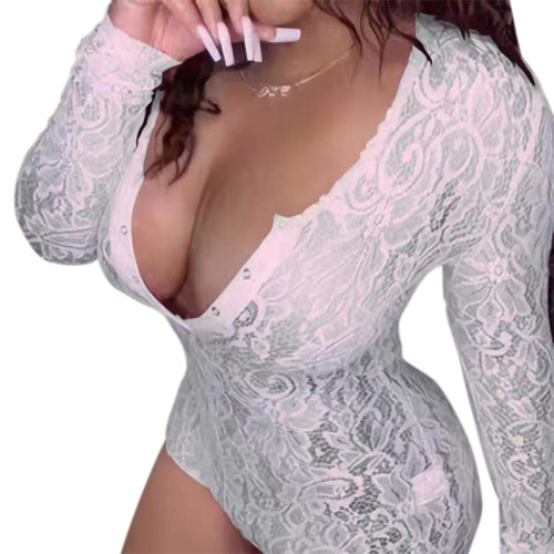 بدلة طويلة الأكمام ، بدلة للجسم برقبة على شكل حرف V بالجملة ، ملابس نوم للسيدات ملابس نوم ضيقة ، بدلة قطعة واحدة بسعر المصنع