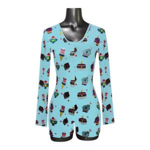 قطعة واحدة ملابس نوم للكبار ، نيسيي مطبوع مخصص للنساء ، ملابس منزلية نايتي للنساء بالجملة